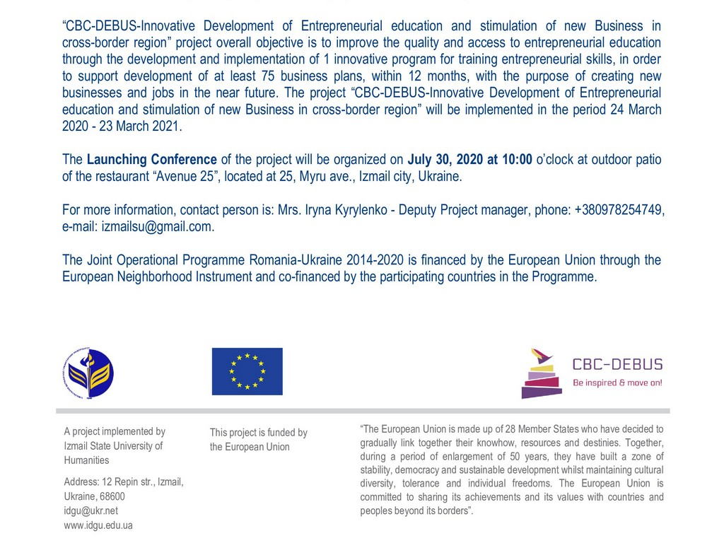 CBC-DEBUS-Innovative Development of Entrepreneurial education and stimulation of new Business in cross-border region